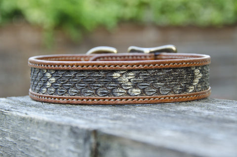 Custom harness handmade leather dog collar with rattlesnake inlay