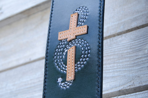 Custom Cross Themed Guitar Strap made by WestEast Armory