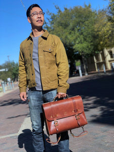 Cross Canyon Bag leather backpack satchel messenger bag handmade in Texas by WestEast Armory