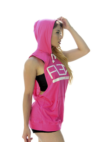 Women's FitFlex Sleeveless Hoodie - Pink - Scal Clothing