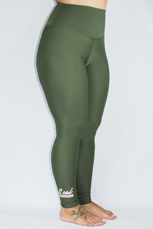 Women's High Waist Leggings - Olive - Scal Clothing