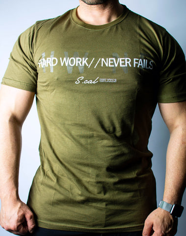 Hard Work Never Fails Tee (Olive)