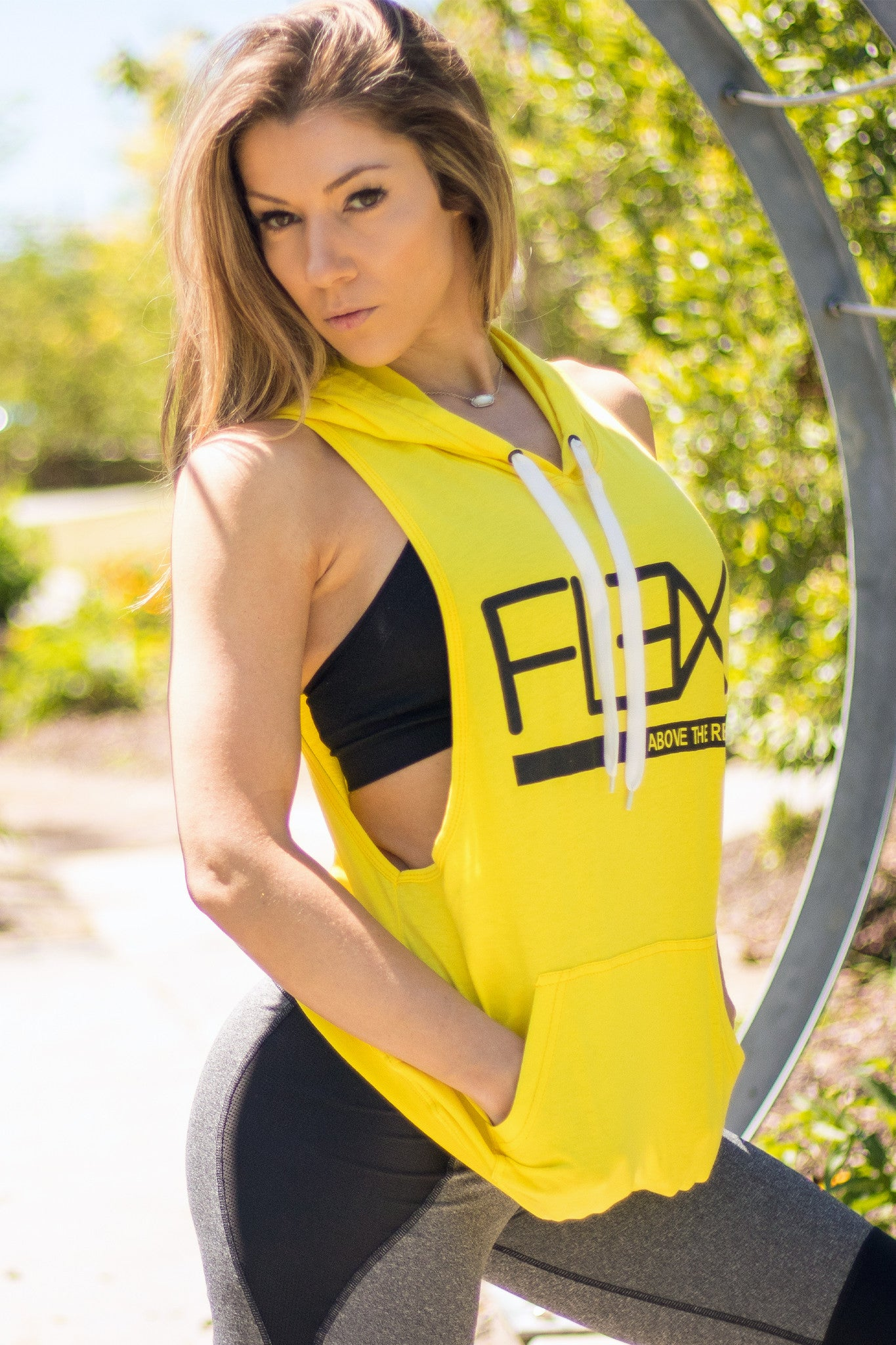 Women's FitFlex Sleeveless Hoodie - Neon Yellow - Scal Clothing