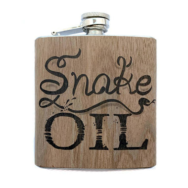 6oz Snake Oil Wood Wrapped Flask