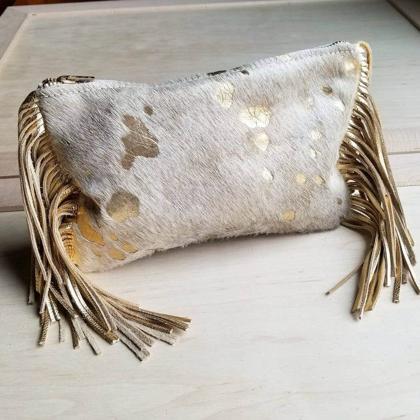 Cream and Gold Hair-on-Hide Leather Clutch Handbag 501e