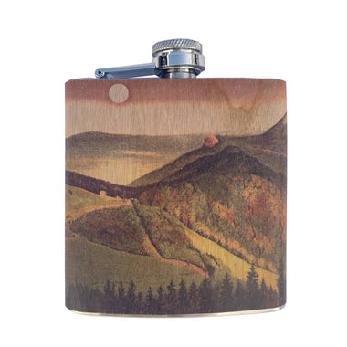 6oz Rolling Mountains Wood Wrapped Flask