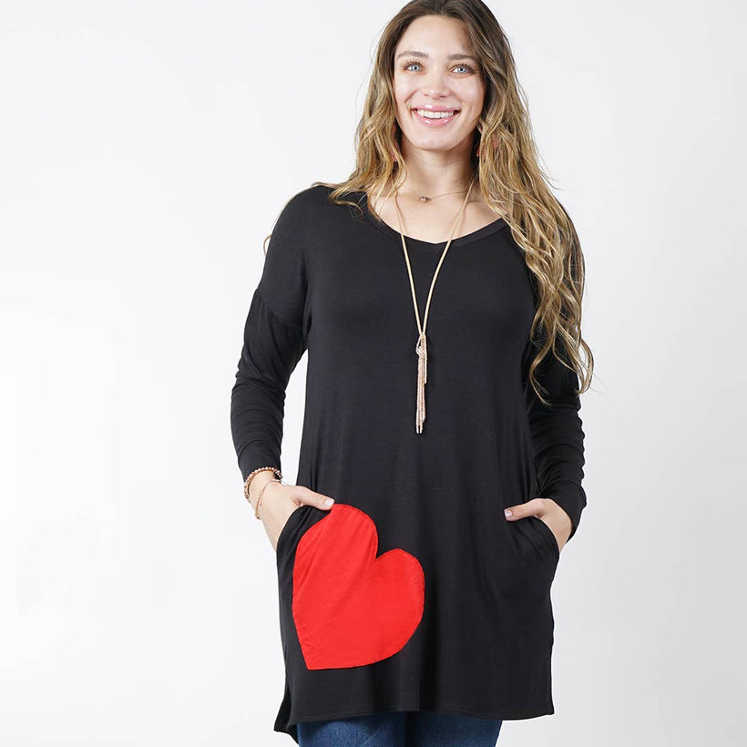 [PLUS] Valentine Heart contrast V-neck tunic