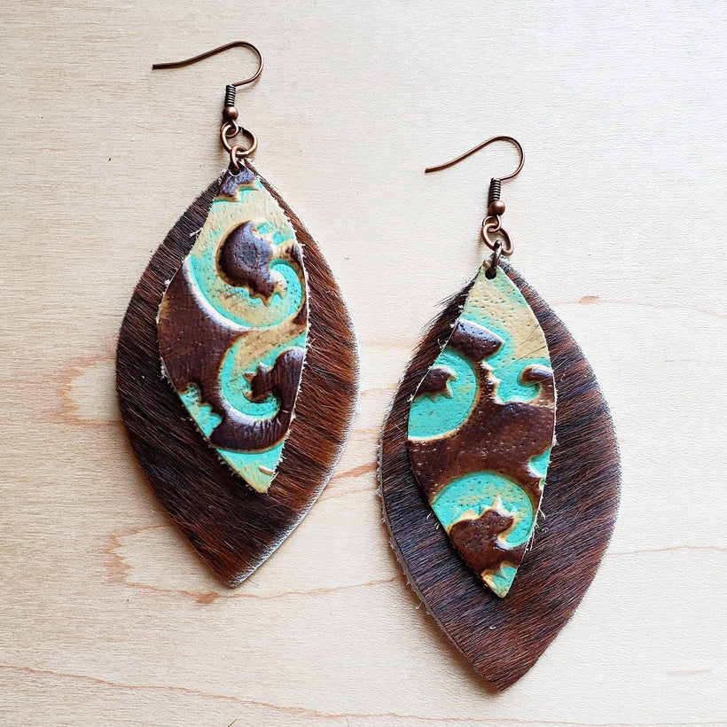 Leather Oval Brown Hide Earrings with Turquoise Floral Accents