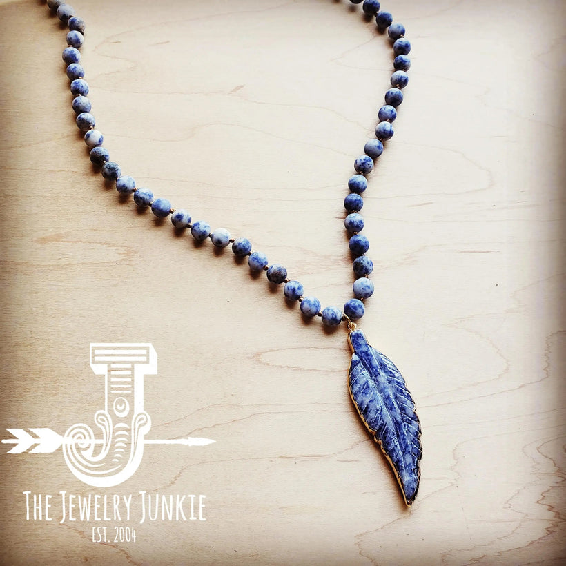 Blue Frosted Sodalite Long Beaded Necklace