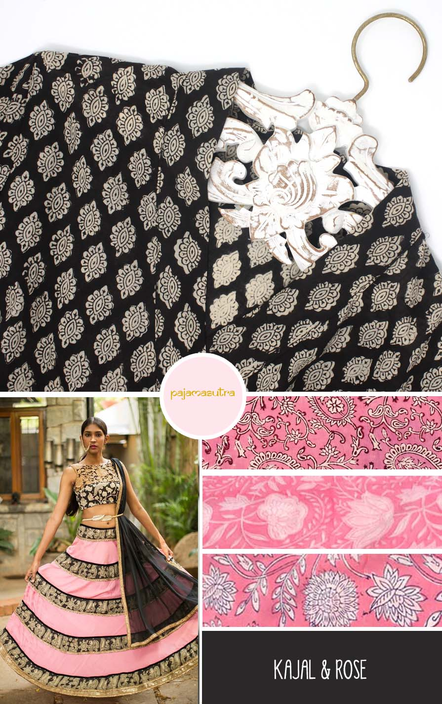 Black and Pink Wedding Color Palette Indian Bridesmaids Bride
