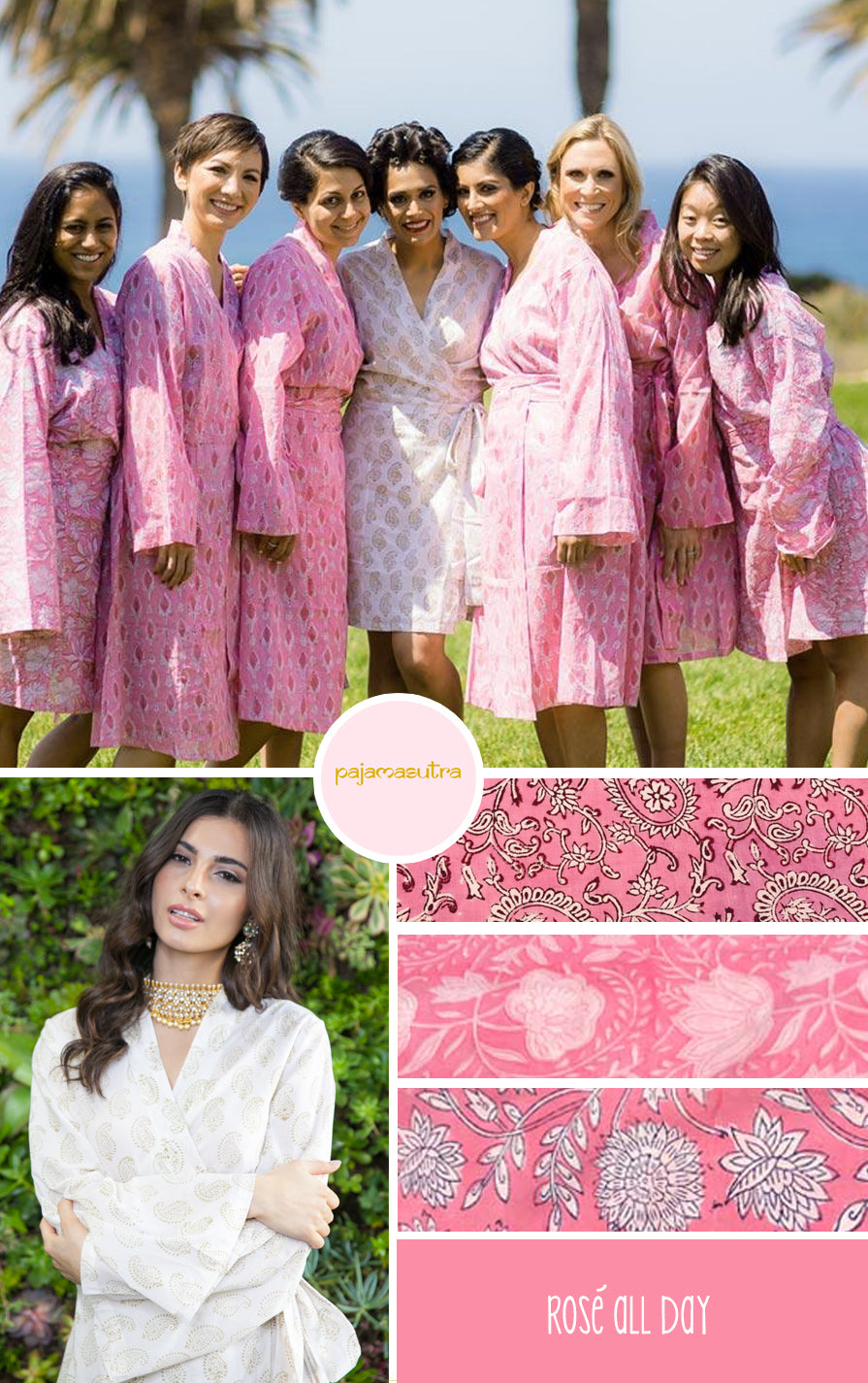 Pink Wedding Color Palette Bridesmaid Robes
