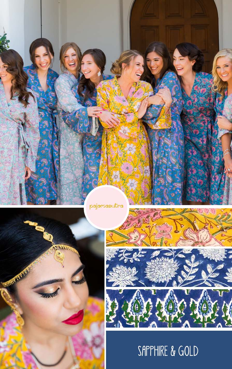 Sapphire Blue and Gold Wedding Color Palette Indian Wedding Bridesmaids