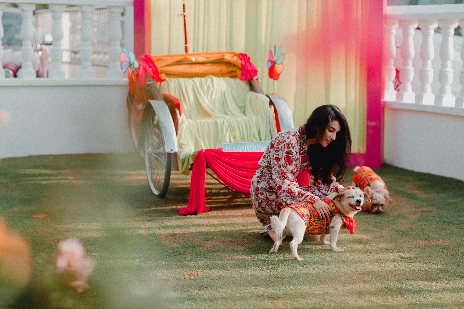 Indian bride and dog