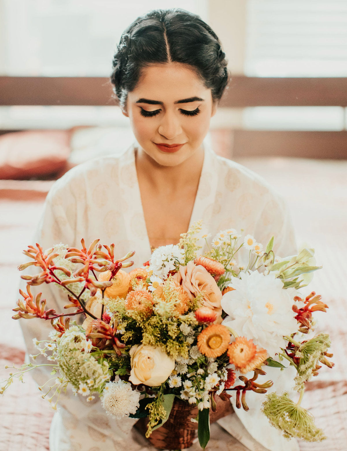 Indian bride robe and bouquet