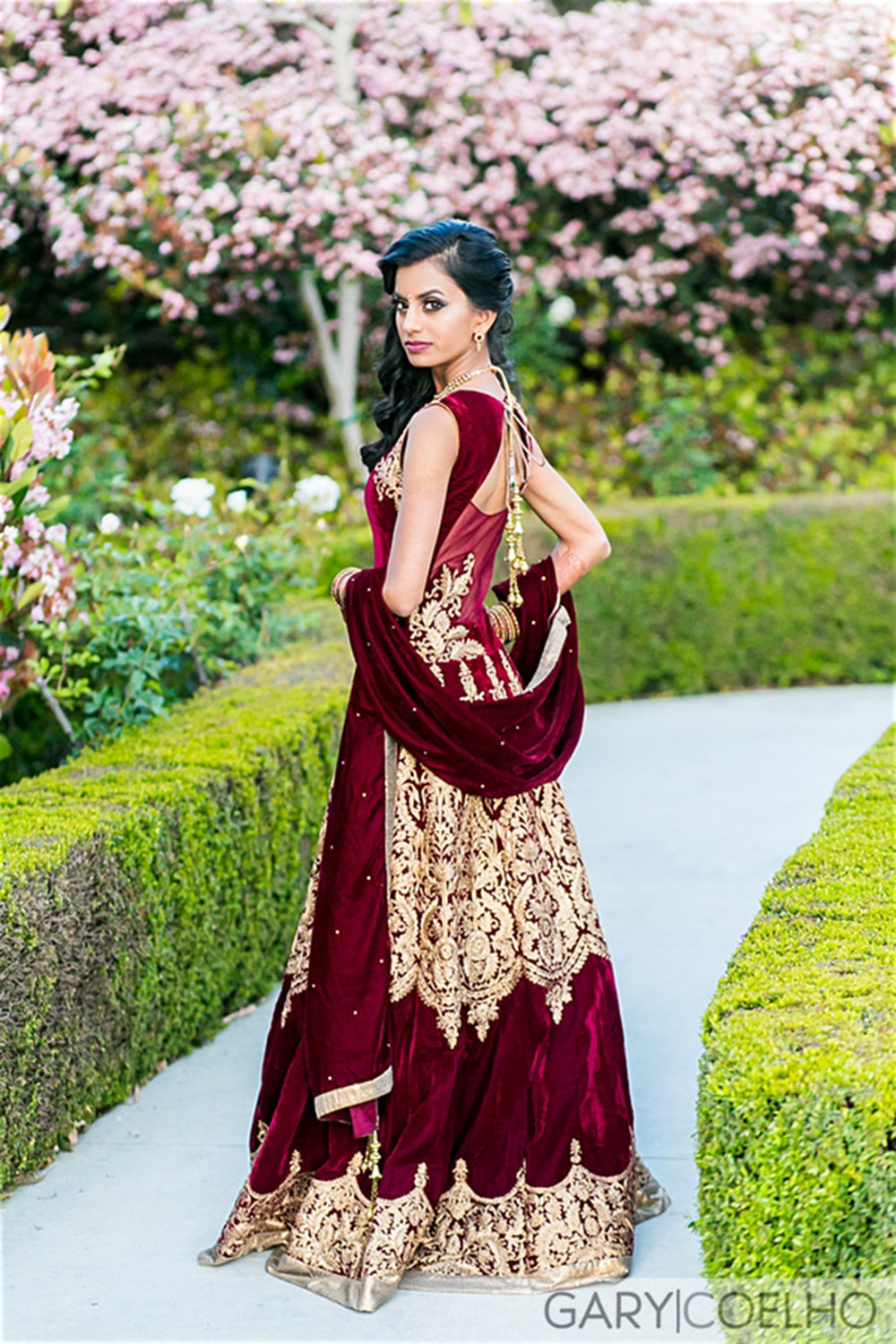 Indian Bride Maroon Gold Lengha