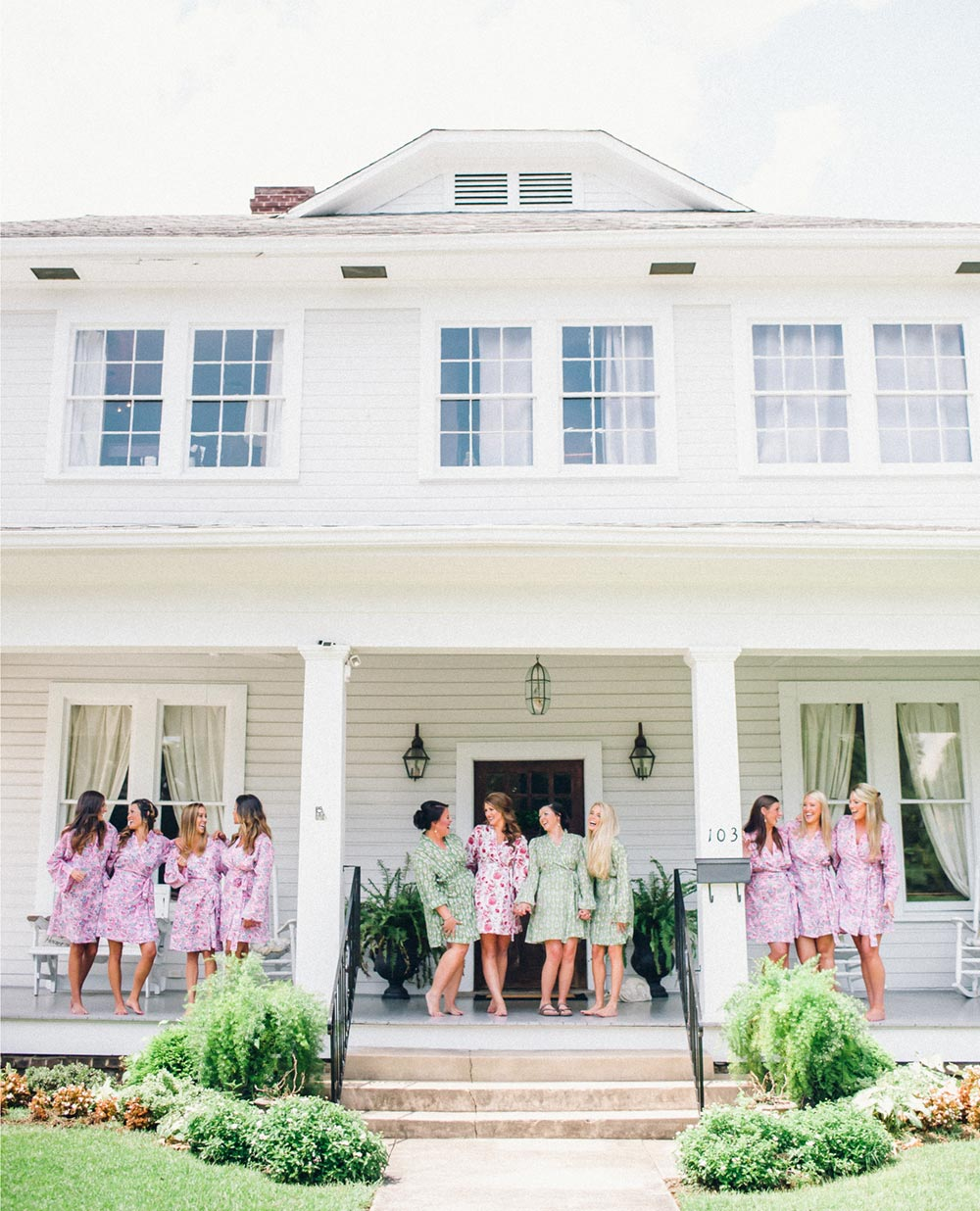 Bridesmaids Outdoor Photography in Robes on Porch