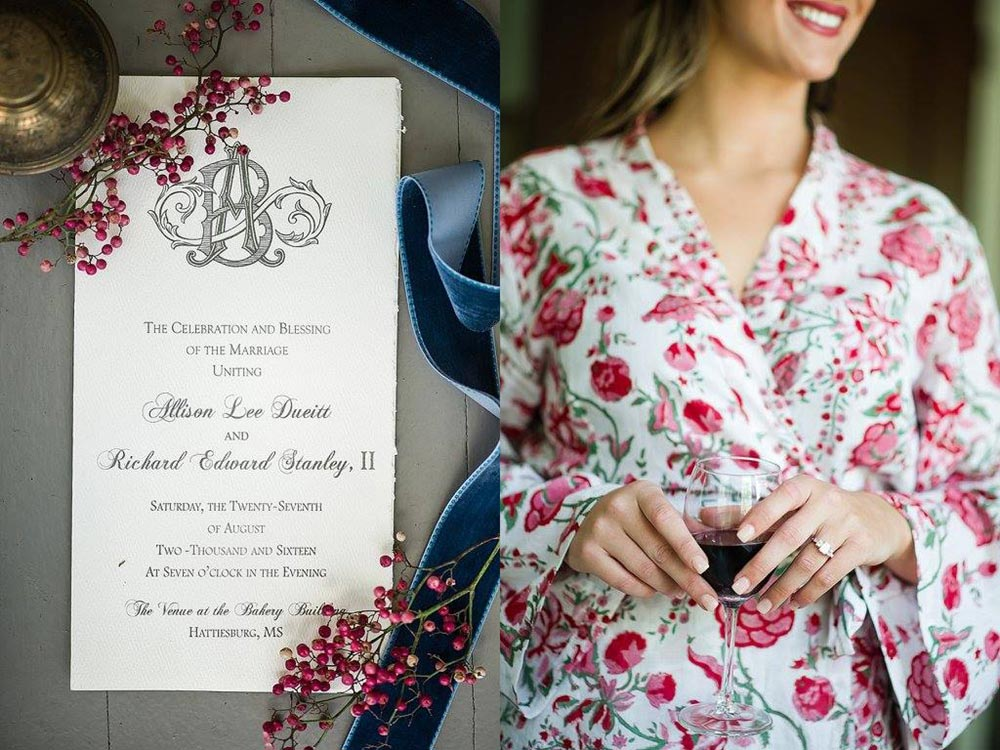 Calligraphy Invitation Red Blue Robe