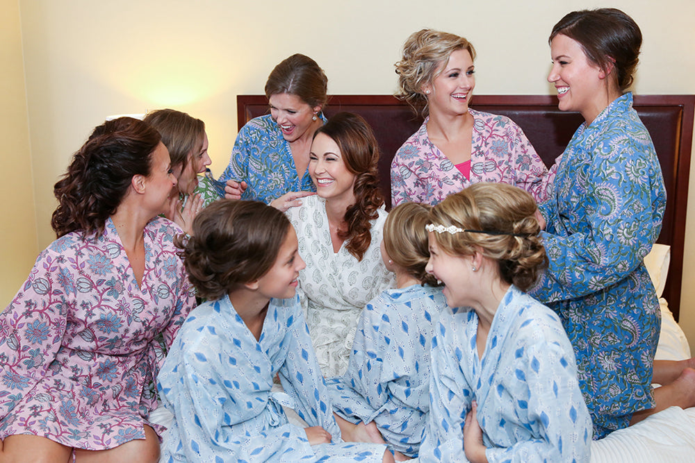 Bridesmaids on Bed Robes