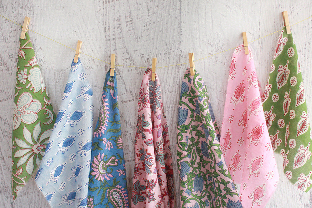 Block Print Fabric Swatches Pennant