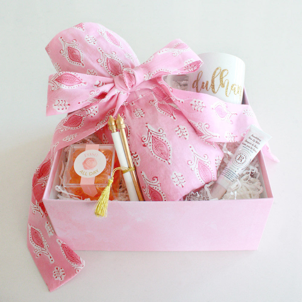 Rose pink bridal shower gift box robe sugarfina