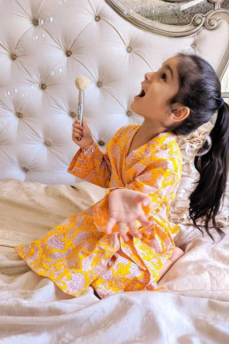 Dressing Robe - Girl's Robe In Marigold