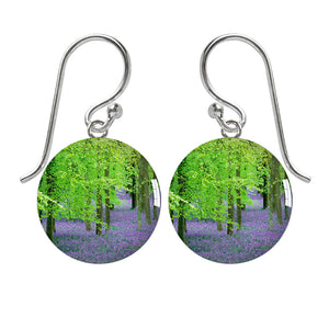 Bluebell Woods Meniscus Resin Photo Earrings