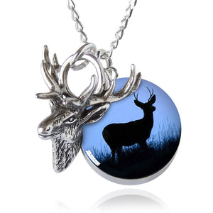 Stag Head Charm Necklace Sterling Silver Deer Elk Pendant