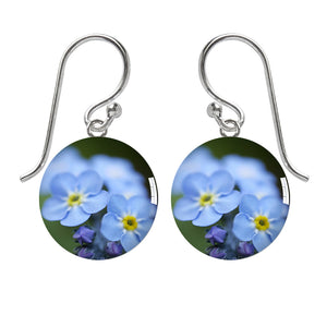 Forget Me Not Flowers Meniscus Earrings by Amanda Jo
