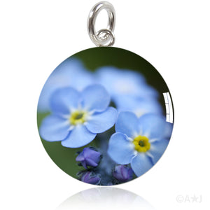 Forget Me Not Flowers Meniscus Pendant by Amanda Jo