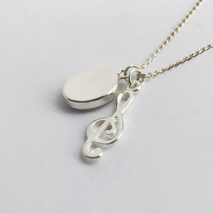 Treble Clef and Sheet Music Charm Necklace Reverse