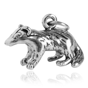 Badger Charm Sterling Silver Animal Pendant