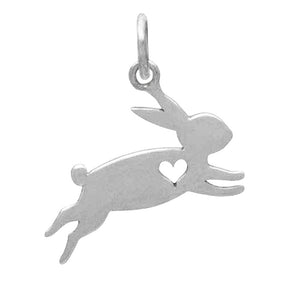 Jumping rabbit charm with heart sterling silver animal