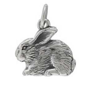 Rabbit Charm Sterling Silver Animal Pendant