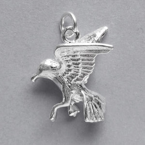 Seagull charm sterling silver or gold sea bird gull