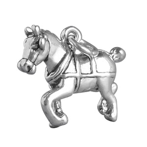 Clydesdale Draft Horse Charm Sterling Silver Pendant