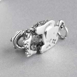 Frog Prince in Crown Charm Sterling Silver Pendant