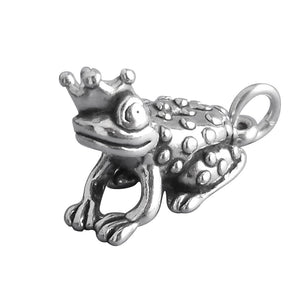 Frog Prince in Crown Charm Sterling Silver Toad Pendant