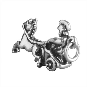 Roman Chariot Charm Sterling Silver Horse Pendant
