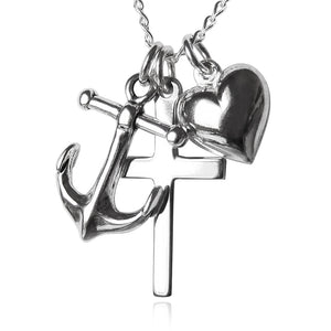 Sterling Silver Faith Hope Charity Anchor Cross Heart Charm Necklace