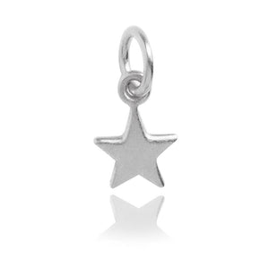 Tiny Sterling Silver or Gold Plated Five Point Star Charm
