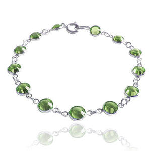 Swarovski Crystal Chain Bracelet in Peridot Green