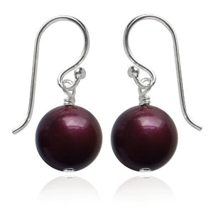 Blackberry Swarovski Crystal Pearl Earrings | Amanda Jo