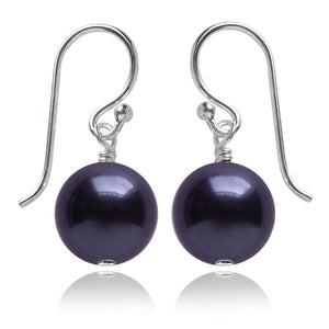 Dark Purple Swarovski Crystal Pearl Earrings | Amanda Jo