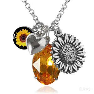 Sterling Silver and Swarovski Crystal Sunflower Necklace