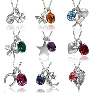 Amanda Jo Sterling Silver Swarovski Charm Necklaces