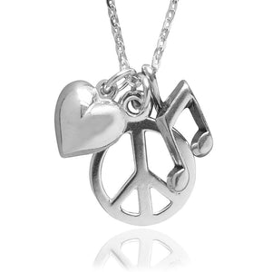 Sterling Silver Peace Love Music Charm Necklace by Amanda Jo