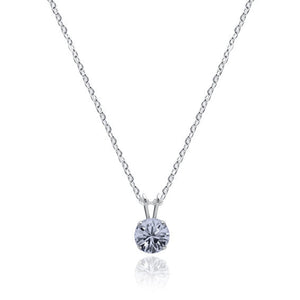 Swarovski Crystal Solitaire Necklace Crystal Blue Shade