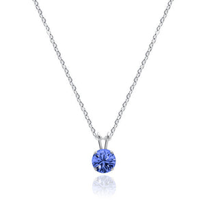 Swarovski Crystal Solitaire Necklace Sapphire