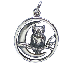Owl and Moon Charm Sterling Silver Pendant | Amanda Jo Charms