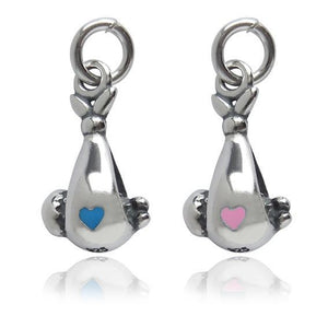 Baby in Sling Sterling silver with Enamel Pink or Blue Heart | Silver Star Charms